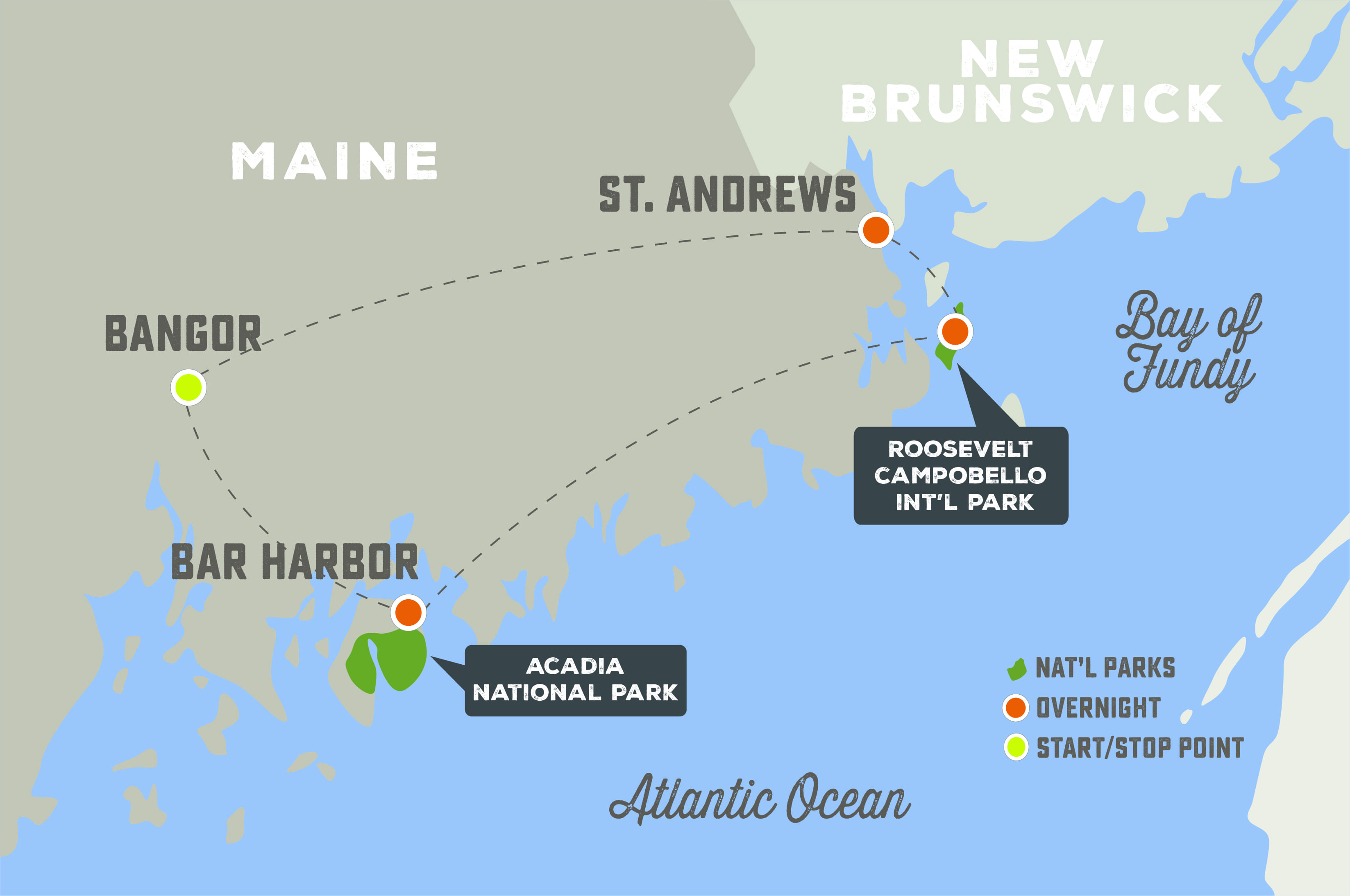 Acadia and the Bay of Fundy - Trip Map