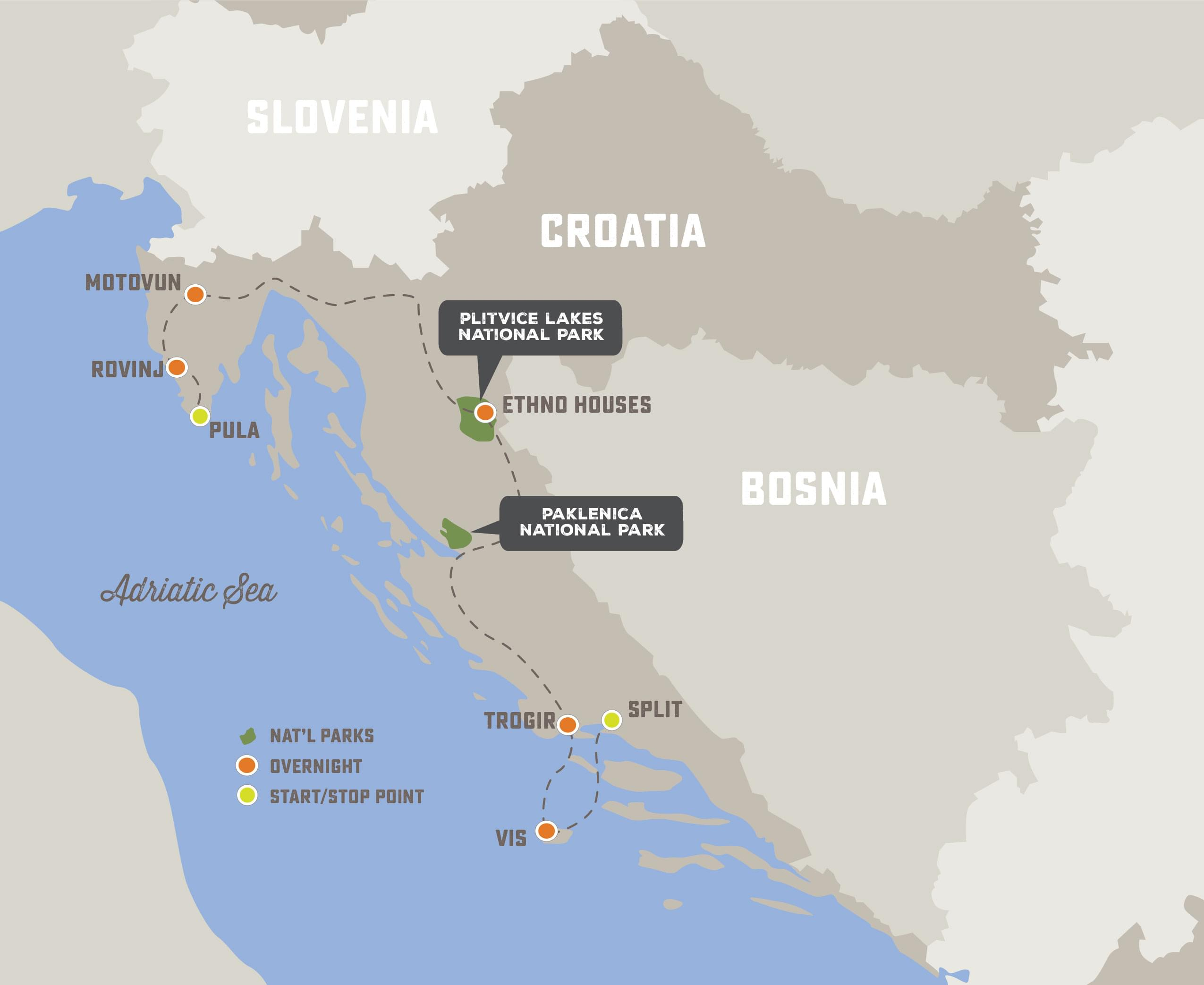 Captivating Croatia - Trip Map