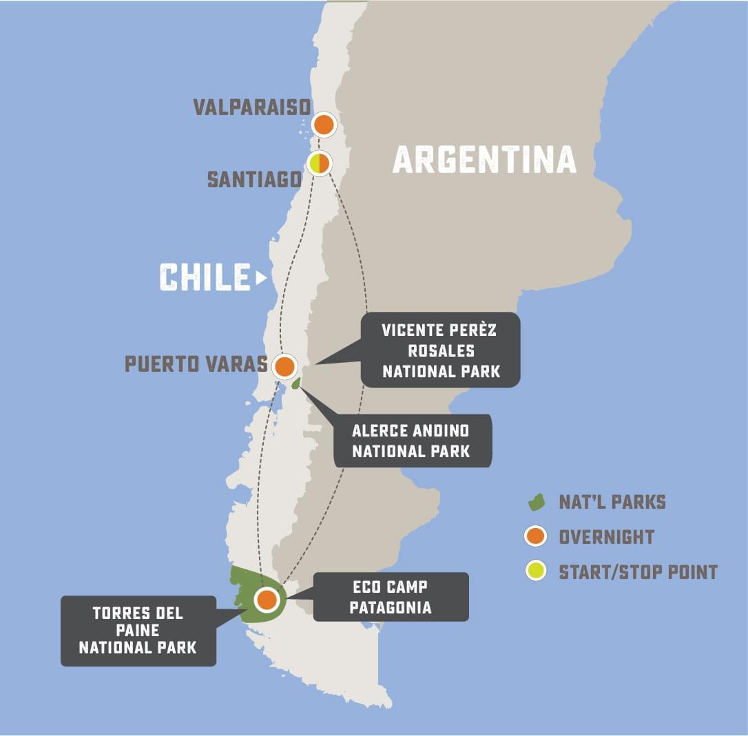 Chilean Adventure - Trip Map