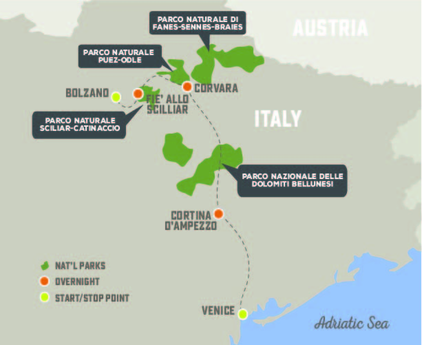 Dolomites Delight - Trip Map