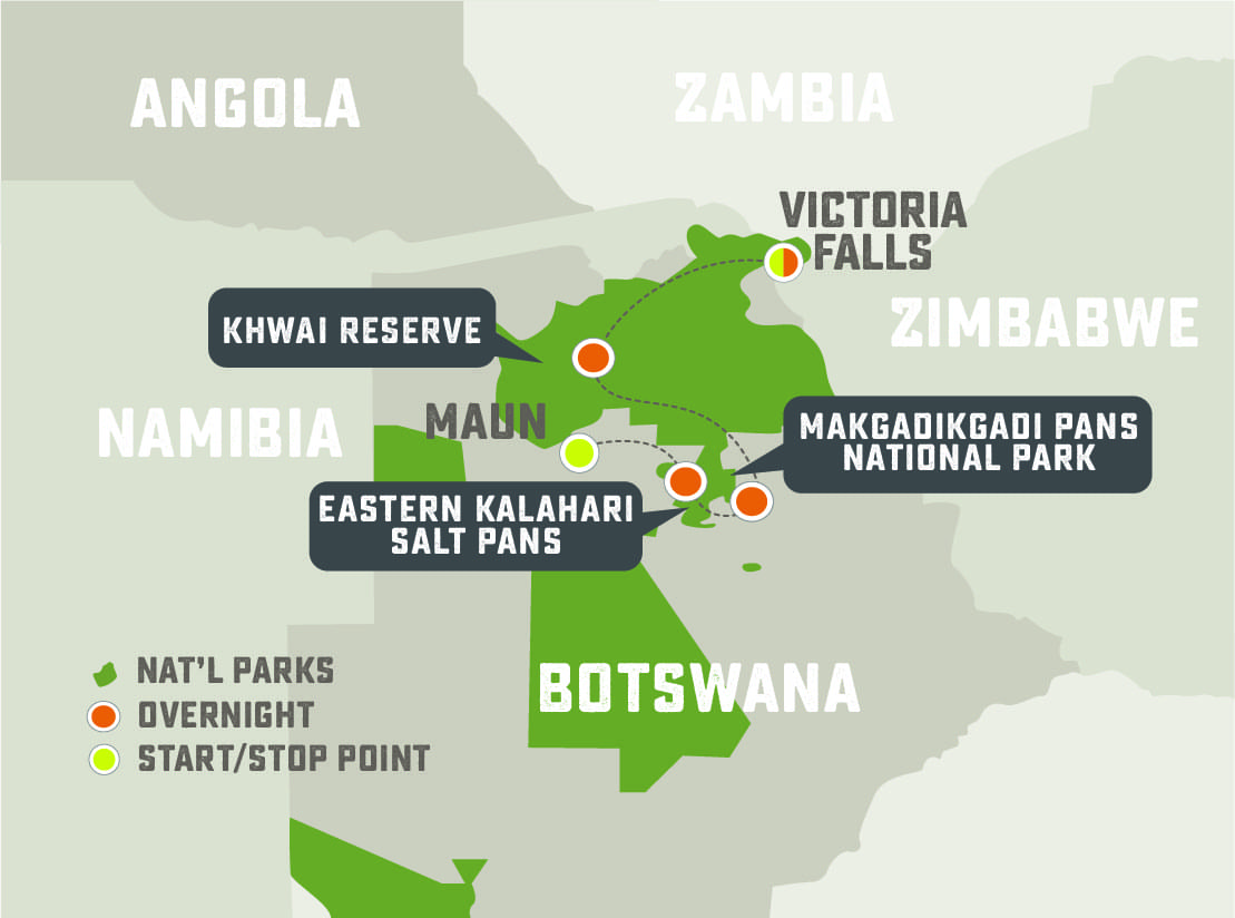 Family Botswana Safari - Trip Map