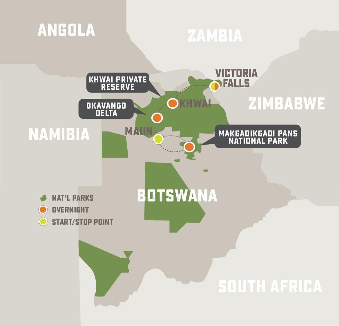 Off the Beaten Path Botswana - Trip Map