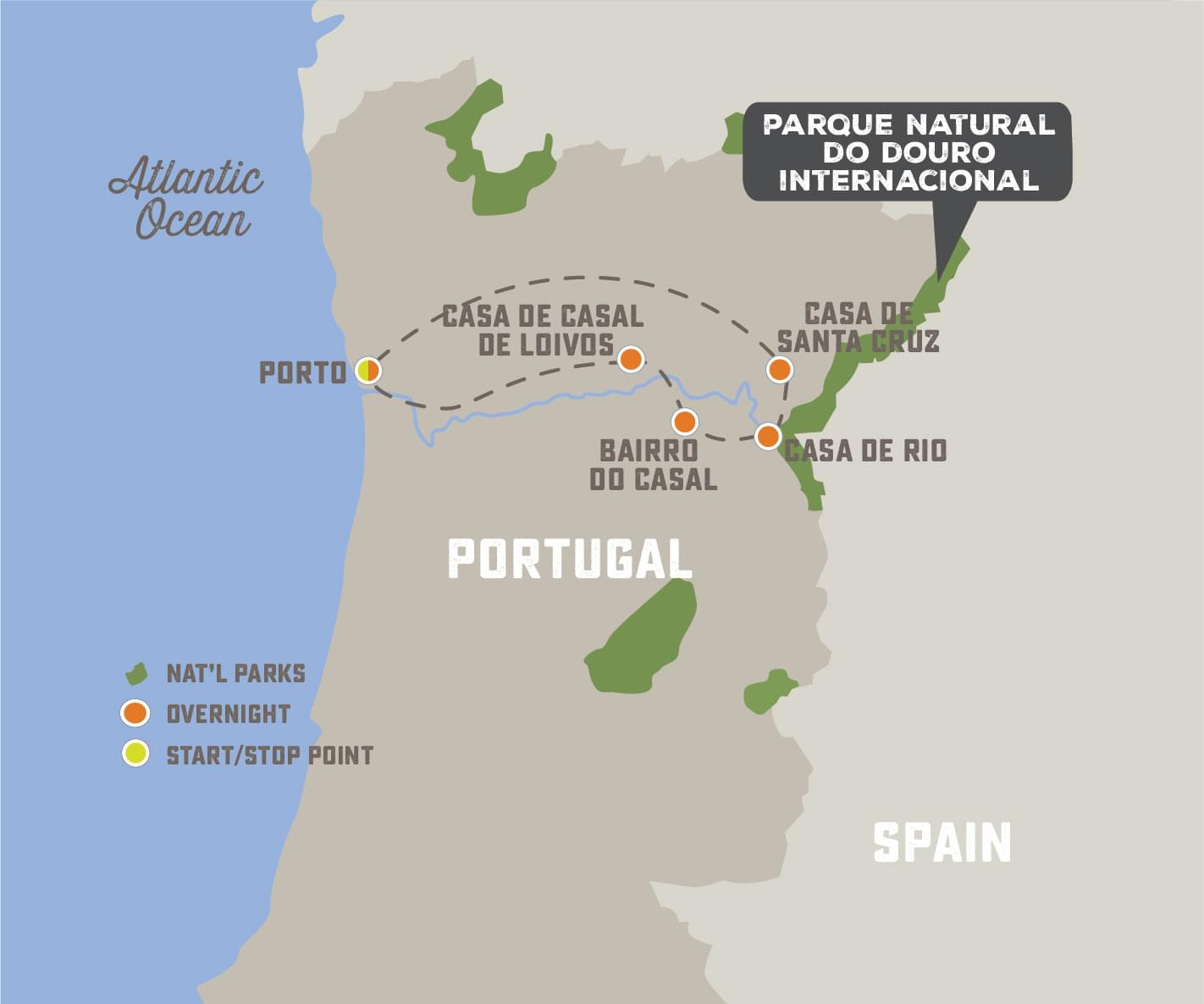 Paddling Portugal's River of Wine - Trip Map