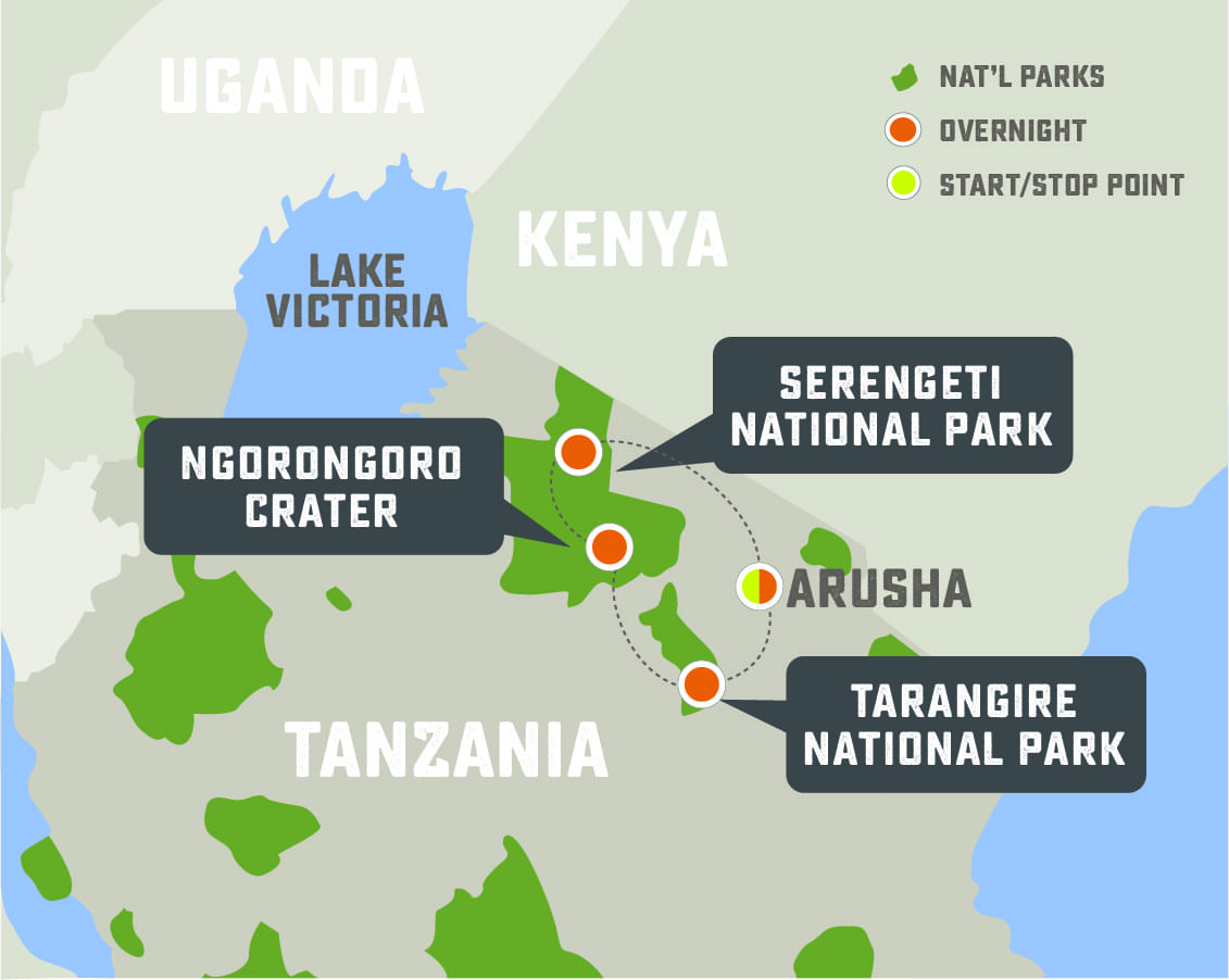 Secluded Tanzania Safari - Trip Map