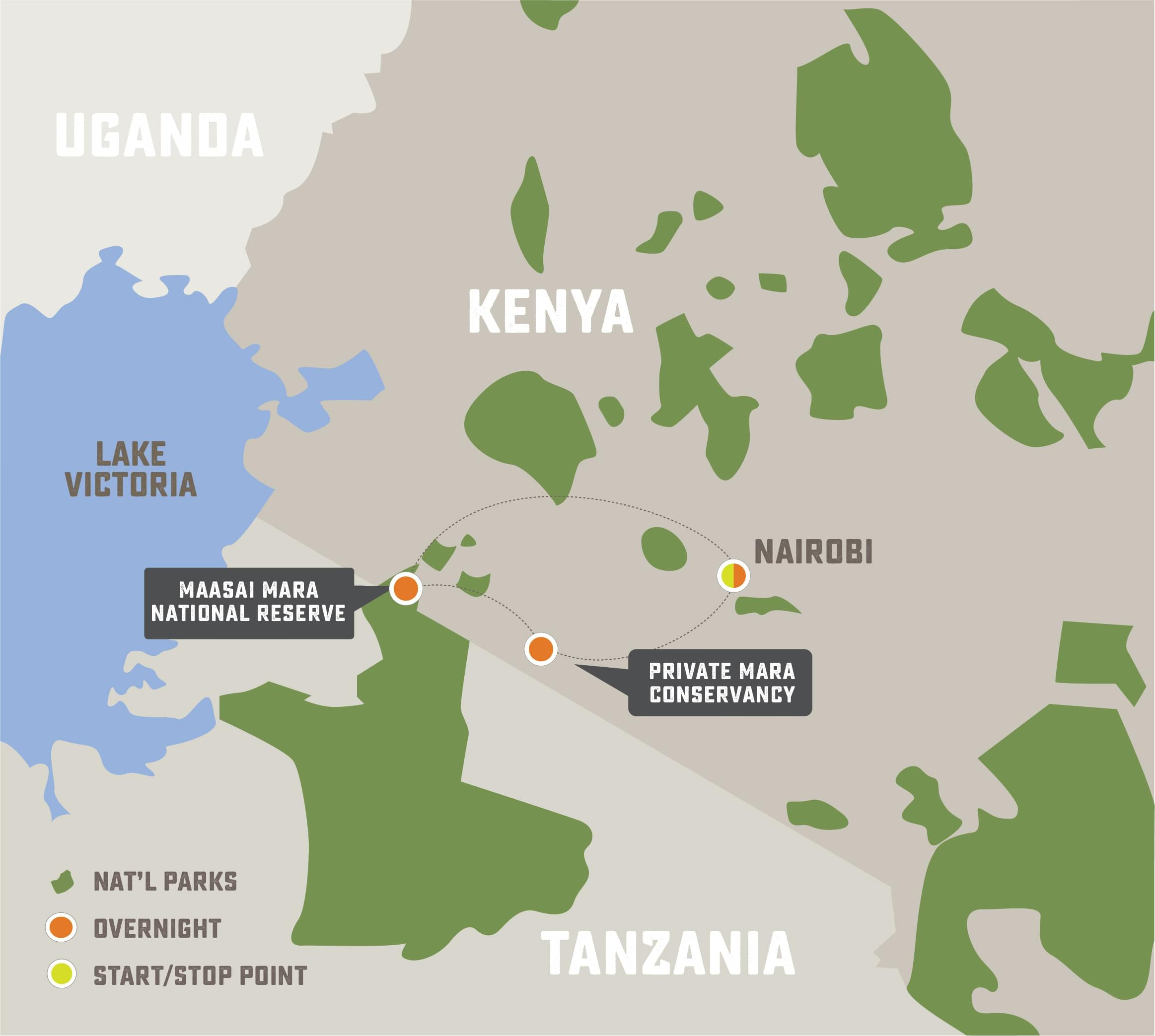 The Great Kenya Migration Safari - Trip Map