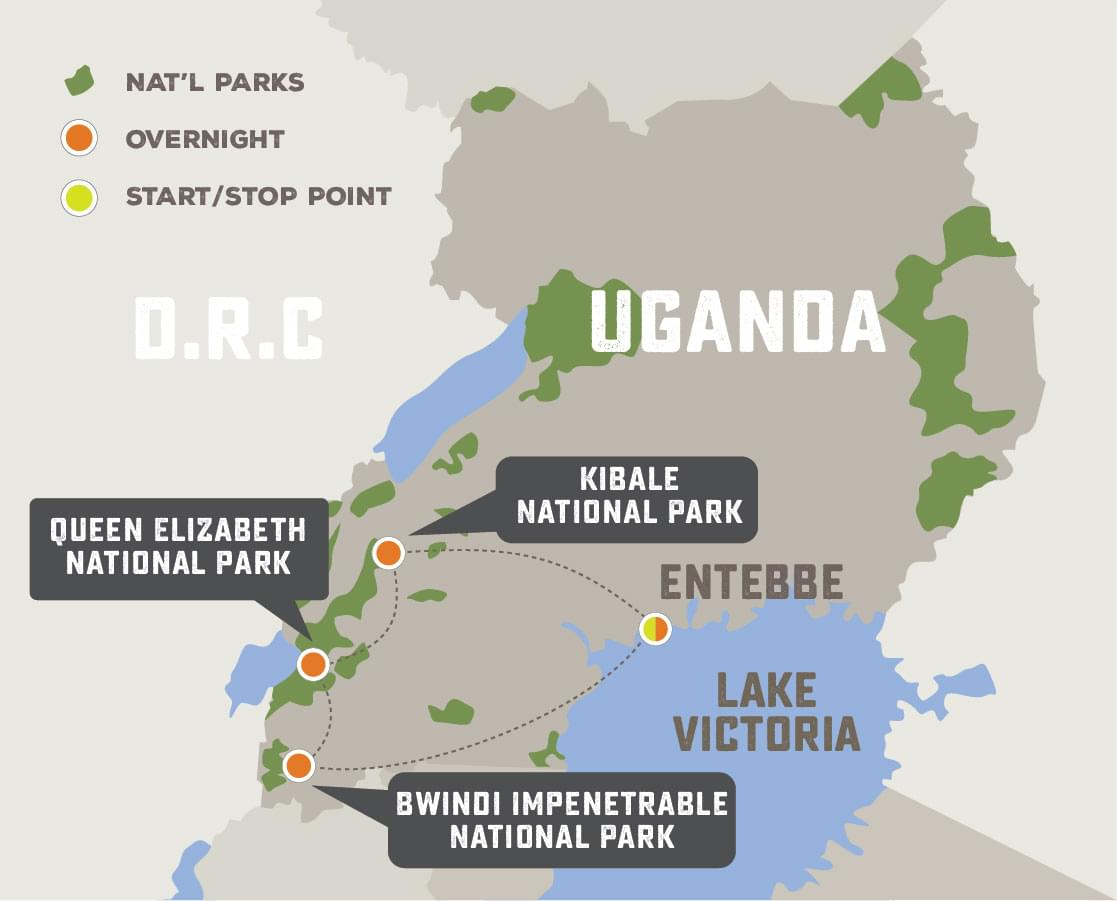 Great Uganda Gorilla Safari - Trip Map
